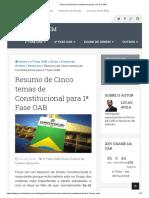 Resumo de Direito Constitucional Para 1ª Fase OAB