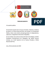 Fuerzas Armadas expresa respaldo al presidente Martín Vizcarra