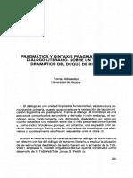 T.albaladejo. Pragmática y Sintaxis Pragmática Del Diálogo Literario. Texto Dramático Del Duque de Rivas
