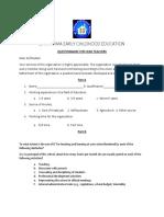 Questionnaire for H. Teachers