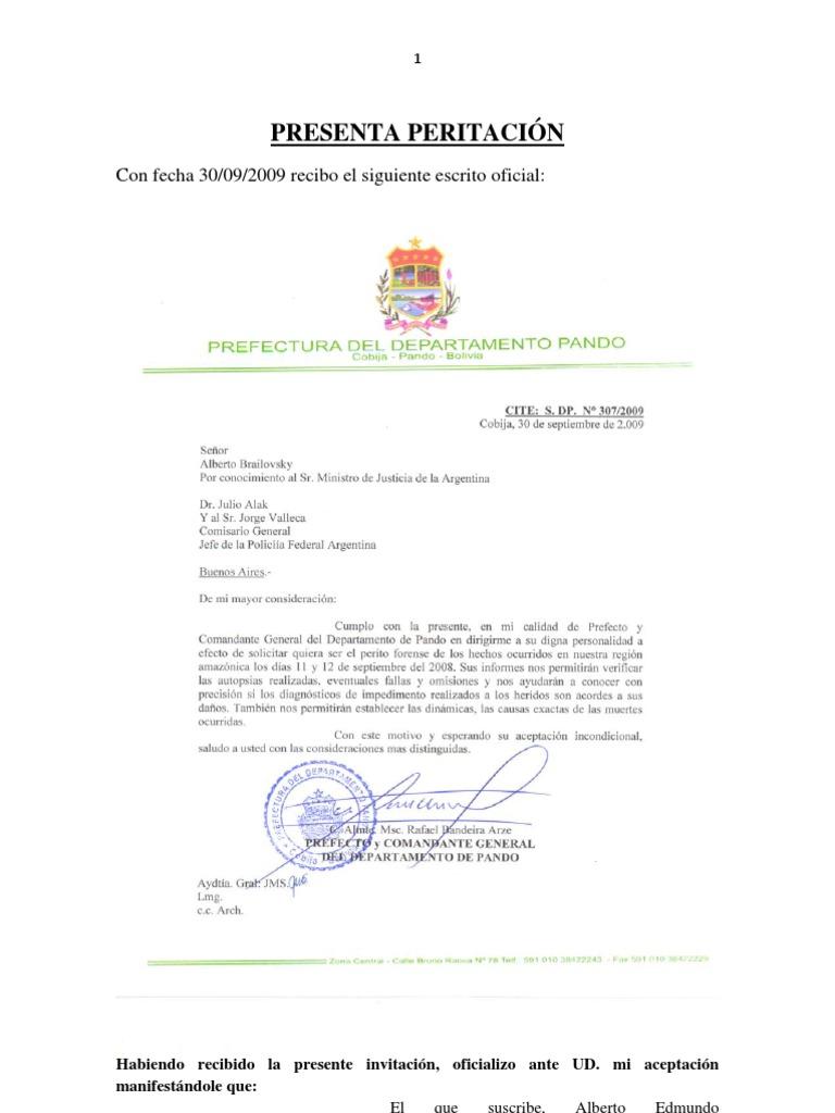 Informe Preliminar Dr Brailovsky Sobre Masacre de Pando - Noviembre 2009