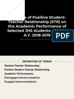 Significance of Positive Student-Teacher Relationship (STR) on the Academic Performance of Selected Junior High School Students