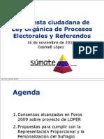 Propuesta ciudadana de Ley Orgánica de Procesos Electorales y Referendos