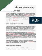 Calcular El Valor de Un Pip y Su Significado