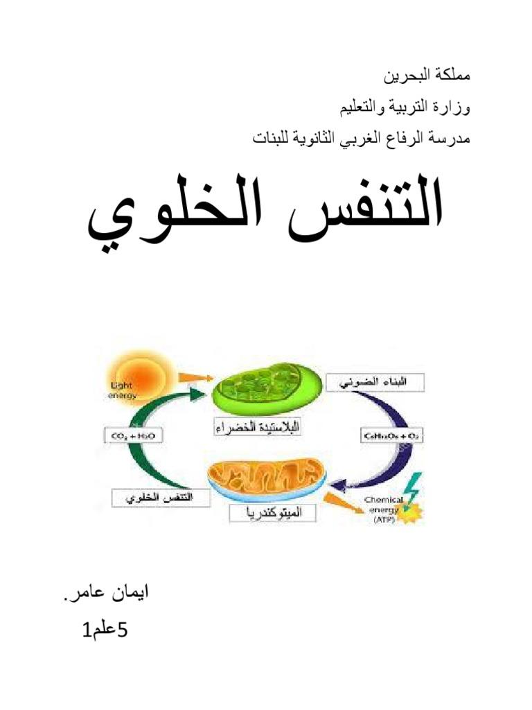 عملية التنفس الخلوي معادلة البناء الضوئي