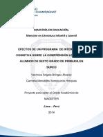 Efectos de un programa de Intervención Cognitiva sobre la Comprensión Lectora en Alumnos de Sexto Grado de Primaria en Surco