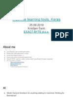 Machine Learning Tools, Keras