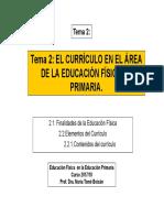 Tema 2. El Currículo de Educación Física en la Ed. Primaria
