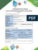 Guía de actividades y rúbrica de evaluación - Tarea 2 - Realizar análisis crítico de problemática asociada al uso inapropiado del territorio .docx