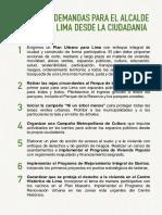 16 Demandas desde la ciudadanía para el Alcalde de Lima