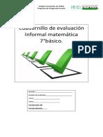 Cuadernillo de evaluación Informal matemática 7° basico  resumido
