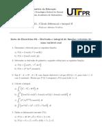 Lista 04 - Derivadas e Integrais de Funções Vetoriais de Uma Variável Real (Respostas)
