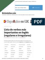 Lista de Verbos Más Importantes en Inglés (Regulares e Irregulares) – Bristoleños.com
