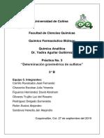 Práctica 3. Determinación Gravimétrica de Sulfatos