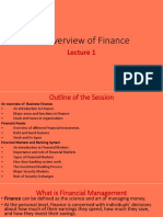 Lecture 1 Overview of Finance