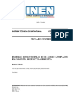 NTE INEN 2233 Perfiles Estructurales h de Acero Laminados en Caliente. Requisitos. (Serie IPN).