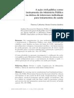 A Acao Civil Publica Como Instrumento Do Ministerio Publico Na Defesa de Interesses Individuais Para Tratamentos de Saude