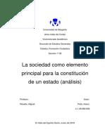 La sociedad como elemento principal para la constitución de un Estado (análisis)