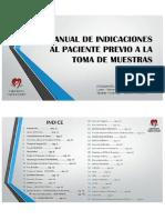 Manual de Indicaciones Al Paciente Previo a La Toma de Muestras.