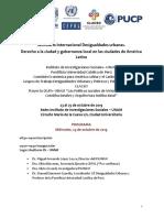 Seminario Internacional «Desigualdades urbanas, derecho a la ciudad y gobernanza local en las ciudades de América Latina» - Programa Final (Octubre)
