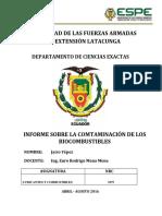 Informe Contaminación de Los Biocombustibles