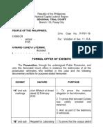 Supplemental Formal Offer of Exhibits