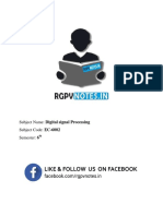 Unit 3 - Digital Signal Processing - Www.rgpvnotes.in