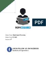 Unit 4 - Digital Signal Processing - Www.rgpvnotes.in