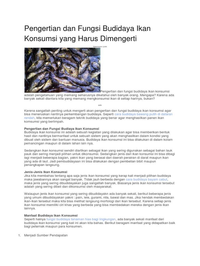 Pengertian Dan Fungsi Budidaya Ikan Konsumsi Yang Harus Dimengerti