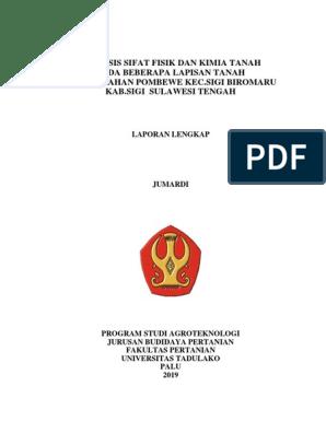 Analisis Sifat Fisik Dan Kimia Tanah Pada Beberapa Lapisan Tanah Di Kelurahan Pombewe Kec Sigi Biromaru Kab Sigi Sulawesi Tengah