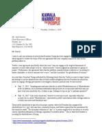 Kamala Harris Letter to Twitter CEO Jack Dorsey