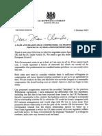 Lettre de Boris Johnson à Jean-Claude Juncker