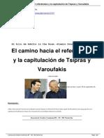 El Camino Hacia El Refer Mdun y La Capitulaci n de Tsipras y Varoufakis. E. Toussaint