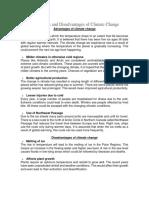 Advantages and Disadvantages of Climate Change