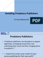 Avoiding Predatory Journals
