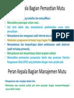 Peran Kepala Bagian Pemastian Mutu Dan Manajemen Mutu