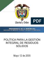 Presentación 4 - Leyla Rojas. MAVDT. Politica Para La GIRS