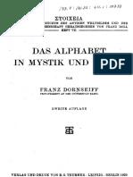 Dornseiff - Alphabet in Magie Und Mystik