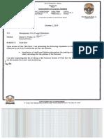 Memorandum from Police Chief Finley