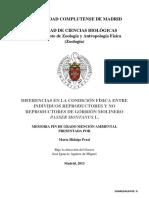 DIFERENCIAS EN LA CONDICIÓN FÍSICA ENTRE INDIVIDUOS REPRODUCTORES Y NO REPRODUCTORES DE GORRIÓN MOLINERO PASSER MONTANUS L.