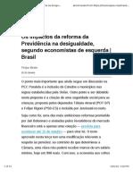 Os impactos da reforma da Previdência na desigualdade, segundo economistas de esquerda | Brasil