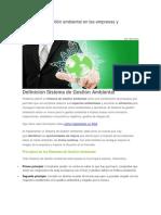 Sistemas de Gestión Ambiental en Las Empresas y Organizaciones