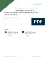 O Problema Da Informacao e o Estudo Da economia do setor público