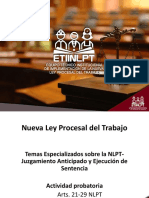 Actividad probatoria en la NLPT