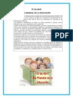 01 de Abril Dia Mundial de La Educacion