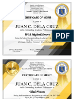 Award Certificates by Sir Tristan Asis