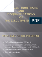 Privileges of the Executive Department