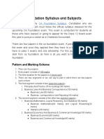 Ca Foundation Syllabus and Subject