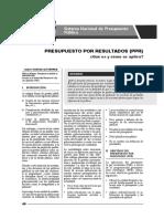 Presupuesto Por Resultados Ppr . Que Es y Como Se Aplica. Isabel Chavez Gutierrez