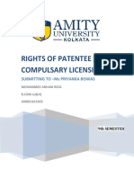 RIGHTS OF PATENTEE AND COMPULSARY LICENSING